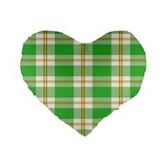 Abstract Green Plaid Standard 16  Premium Flano Heart Shape Cushions by BangZart