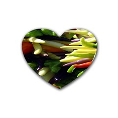 Bright Peppers Rubber Coaster (heart)  by BangZart