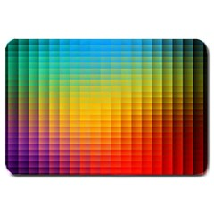 Blurred Color Pixels Large Doormat  by BangZart