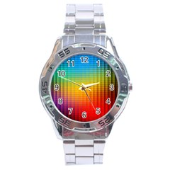 Blurred Color Pixels Stainless Steel Analogue Watch by BangZart