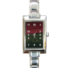 Beautiful Floral Textured Rectangle Italian Charm Watch by BangZart