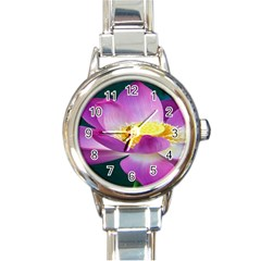 Pink Lotus Flower Round Italian Charm Watch by BangZart