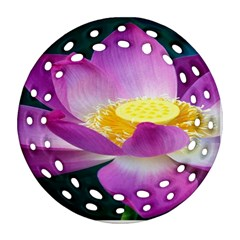 Pink Lotus Flower Round Filigree Ornament (two Sides) by BangZart