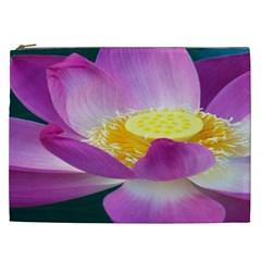 Pink Lotus Flower Cosmetic Bag (xxl)  by BangZart