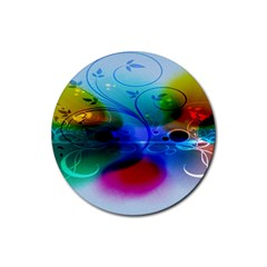 Abstract Color Plants Rubber Coaster (round)  by BangZart