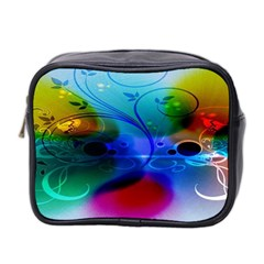 Abstract Color Plants Mini Toiletries Bag 2 Side by BangZart