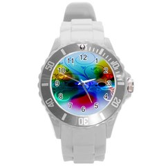 Abstract Color Plants Round Plastic Sport Watch (l) by BangZart