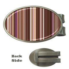 Brown Vertical Stripes Money Clips (oval)  by BangZart