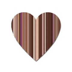 Brown Vertical Stripes Heart Magnet by BangZart