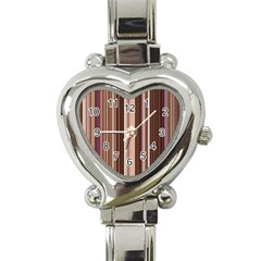 Brown Vertical Stripes Heart Italian Charm Watch by BangZart
