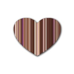 Brown Vertical Stripes Rubber Coaster (heart)  by BangZart