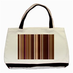 Brown Vertical Stripes Basic Tote Bag (two Sides) by BangZart