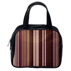 Brown Vertical Stripes Classic Handbags (one Side) by BangZart