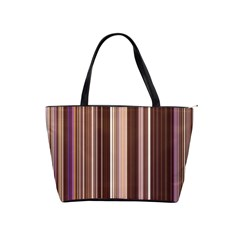 Brown Vertical Stripes Shoulder Handbags by BangZart