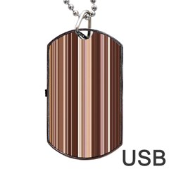 Brown Vertical Stripes Dog Tag Usb Flash (two Sides) by BangZart