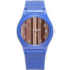 Brown Vertical Stripes Round Plastic Sport Watch (s) by BangZart