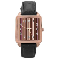 Brown Vertical Stripes Rose Gold Leather Watch  by BangZart