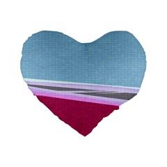 Cracked Tile Standard 16  Premium Flano Heart Shape Cushions by BangZart