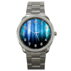 Blue Abstract Vectical Lines Sport Metal Watch by BangZart