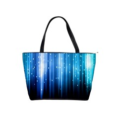Blue Abstract Vectical Lines Shoulder Handbags by BangZart