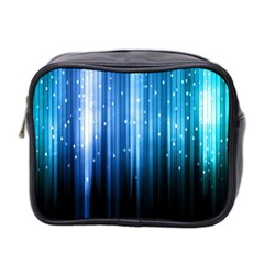 Blue Abstract Vectical Lines Mini Toiletries Bag 2 Side by BangZart