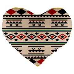 Tribal Pattern Large 19  Premium Heart Shape Cushions by BangZart