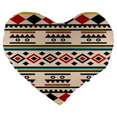 Tribal Pattern Large 19  Premium Flano Heart Shape Cushions by BangZart