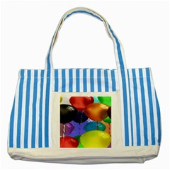 Colorful Balloons Render Striped Blue Tote Bag by BangZart