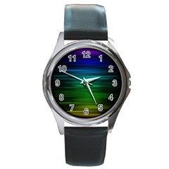 Blue And Green Lines Round Metal Watch