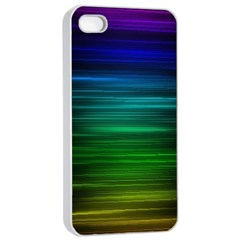 Blue And Green Lines Apple Iphone 4/4s Seamless Case (white) by BangZart