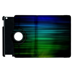 Blue And Green Lines Apple Ipad 2 Flip 360 Case by BangZart