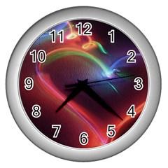 Neon Heart Wall Clocks (silver)  by BangZart
