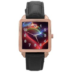 Neon Heart Rose Gold Leather Watch  by BangZart
