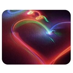 Neon Heart Double Sided Flano Blanket (medium)  by BangZart