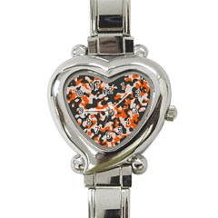 Camouflage Texture Patterns Heart Italian Charm Watch by BangZart