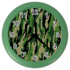 Green Military Vector Pattern Texture Color Wall Clocks by BangZart