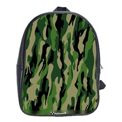 Green Military Vector Pattern Texture School Bags(large)  by BangZart