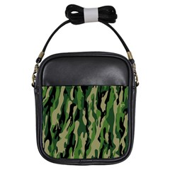 Green Military Vector Pattern Texture Girls Sling Bags by BangZart