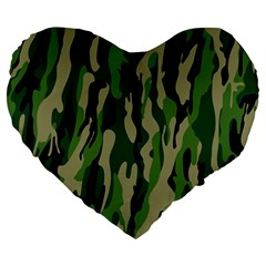 Green Military Vector Pattern Texture Large 19  Premium Heart Shape Cushions by BangZart