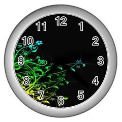 Abstract Colorful Plants Wall Clocks (silver)  by BangZart