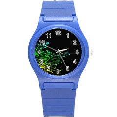 Abstract Colorful Plants Round Plastic Sport Watch (s) by BangZart