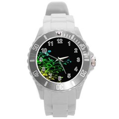 Abstract Colorful Plants Round Plastic Sport Watch (l) by BangZart