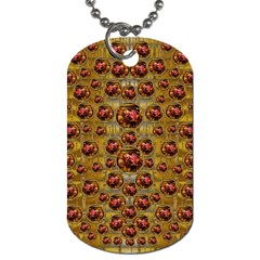 Angels In Gold And Flowers Of Paradise Rocks Dog Tag (one Side) by pepitasart