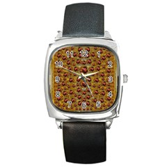 Angels In Gold And Flowers Of Paradise Rocks Square Metal Watch by pepitasart