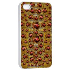 Angels In Gold And Flowers Of Paradise Rocks Apple Iphone 4/4s Seamless Case (white) by pepitasart
