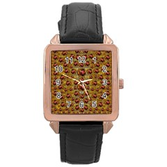 Angels In Gold And Flowers Of Paradise Rocks Rose Gold Leather Watch  by pepitasart