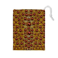 Angels In Gold And Flowers Of Paradise Rocks Drawstring Pouches (large)  by pepitasart