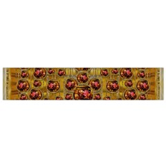 Angels In Gold And Flowers Of Paradise Rocks Flano Scarf (small) by pepitasart