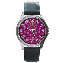 Ladybug In The Forest Of Fantasy Round Metal Watch by pepitasart