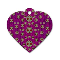 Ladybug In The Forest Of Fantasy Dog Tag Heart (two Sides) by pepitasart